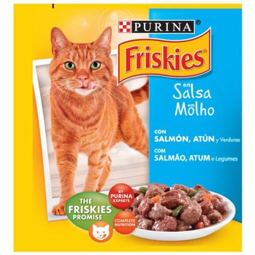 Friskies Adulto Salmón, Atún y Verduras en Salsa para gatos